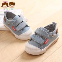 2015 new child denim skateboarding shoes cotton-made male child shoes baby sneakers1 - 3 years old children baby canvas shoes(China (Mainland))