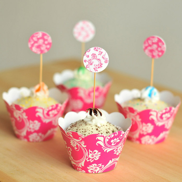 Homemade Cake Decoration Images : 24pcs/set plants princess cupcake wrappers & topper picks ...