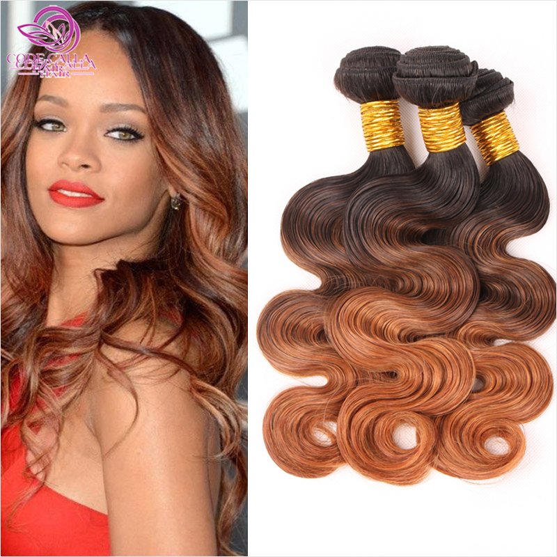Hot sale 6a Ombre Brazilian Hair Brazilian Body Wave 1b/4/30 Ombre Human Hair Extensions 3 Bundles 3 Tone Color WOB101(China (Mainland))