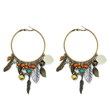 Vintage Silver/Gold Plated Leaf Wood Ball Turquoise Tassel Big Hoop Earrings For Women Aretes De Mujer Bohemia Style 5A Jewelry(China (Mainland))
