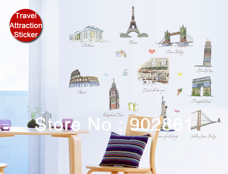 Funlife 120x105cm(48x44in) Removable World tourist attraction Famous buildings Eiffel US Statue of Liberty Wall Sticker(China (Mainland))