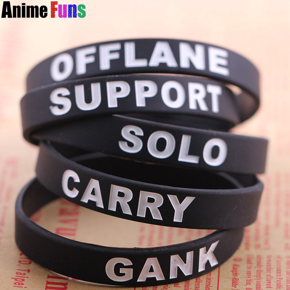 50 pcsset game dota 2 carry gank solo support offlane id silicone bracelet wristband - Support Our Troops Silicone Bracelet