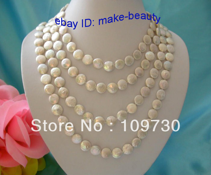 Jewelry 00614 Amazing long 80 white round coin freshwater cultured pearls necklace<br><br>Aliexpress