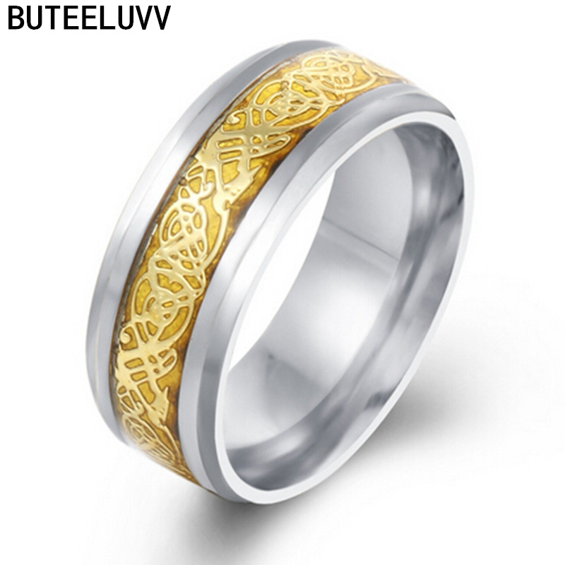 Vintage Gold Dragon Titanium Steel Ring For Men Wedding Titanium Rings Band New Punk Ring For Lover Anillos Hombre RJ128(China (Mainland))