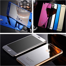 9H Front+Back Mirror Effect Color Glass Screen Protector for iPhone 6 plus 5.5 inch case Plating Full Cover Tempered Glass Film