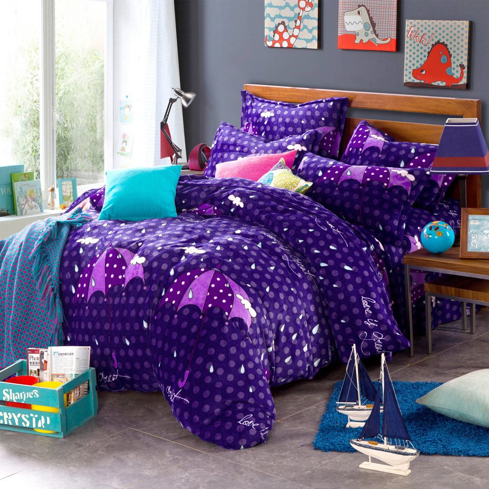 Umbrella duvet cover polka dot bed sheets purple comforter for Housse duvet