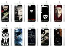 Mobile Phone Cases Wholesale 10pcs/lot Vendetta Anonymous Protective Plastic White Hard Case Cover For IPHONE4 4S Free Shipping