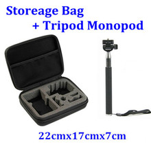 Extendable Selfie Stick Handheld Monopod + ShockProof Camera Bag Case for Gopro Hero 3 4 3+ 2 Sj4000 Action Camera Accessories(China (Mainland))