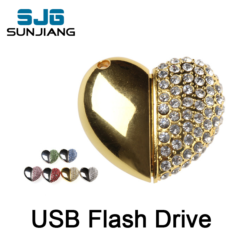 new arrival metal heart usb flash drive 4gb 8gb 16gb 32gb 64GB flash memory stick disk pendrive pen drive fashion cool gift(China (Mainland))