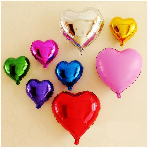 Free Ship One set 3 styles to choice Birthday aluminum Foil Valentine's Day Helium Heart Balloons(China (Mainland))