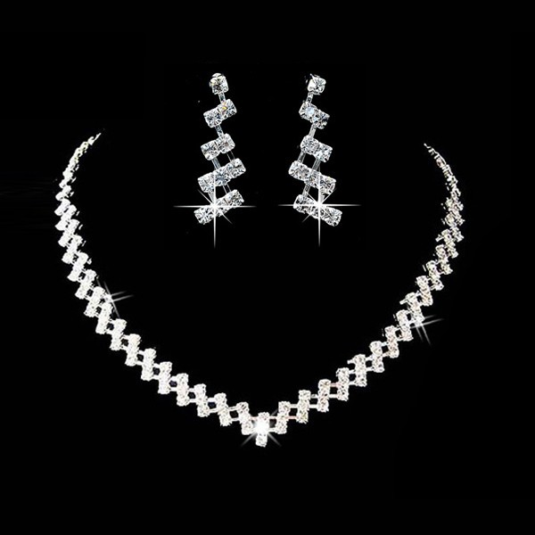 Hot Selling Wedding Jewelry Sets Crystal Bridal Gifts Silver Choker Necklace Earrings Set Wedding Jewelry