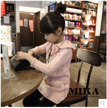 Little girls' fairy series Lotus Leaf Collar long sweater dress(China (Mainland))