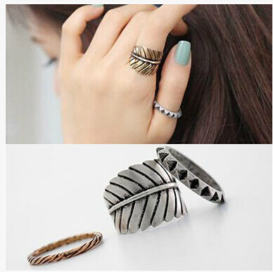 3Pcs/set Punk Retro Personality Feather Exaggerated Geometry Black Metal Cross Rings Band Knuckle Ring Set For Women(China (Mainland))