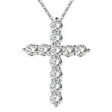 Посеребренные ювелирные изделия ожерелья женщины свадебной моды Крест CZ кристалл Циркон камень ожерелье Рождественский подарок n296(China (Mainland))