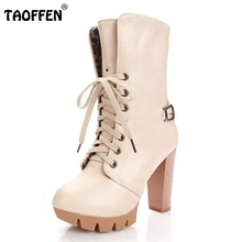 Buy Ladies High Heel Mid Calf Boots Platform Sexy Half Short Warm Winter Martin Boot Women Footwear Heels Shoes Size 32-43 for $26.89 in AliExpress store