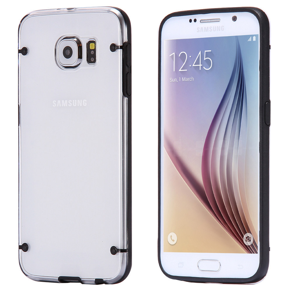 10pcs/lot Luminous Soft TPU Clear Case For Samsung S6 G9200 Luxury Accessories transparent Double Color frame Back Cover