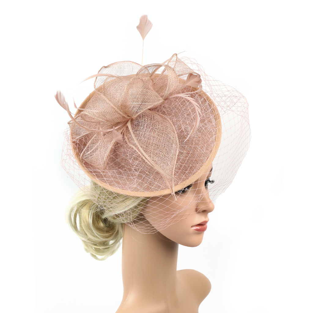 Elegant Women Ladies Sinamay Hat Feather Headband Clip Fascinator Veil Wedding Party Royal Ascot Hair Accessories