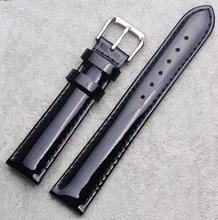 12mm 14mm 16mm 18mm 20mm High Quality Women Black Light Shine Genuine Leather Watch Band Strap Bracelet Depolyment Steel Clasp