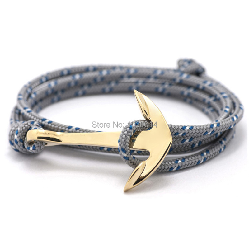2016 New Silver Alloy Anchor Bracelet Multilayer  Leather Risers Bracelet for Women&Men Friendship Bracelets High Quality