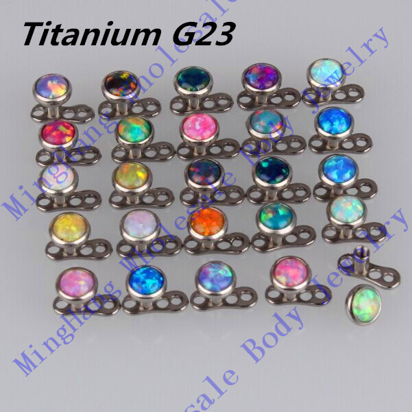 Mixed 25 Color 4MM Dermal Top Opal Stone G23 Titanium Dermal Anchor Piercing Skin Diver Pircing Micro Dermal Jewelry Body <br><br>Aliexpress