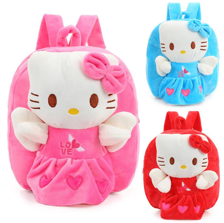 Wholesale and Retail Hello Kitty Toddler Kids Children Boy Girl Cartoon Backpack Schoolbag Shoulder Bag Plush Toy Bag(China (Mainland))