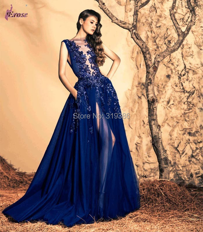 2015 Spring Front Slit Beaded Evening Dress Formal Gown by Lebanese Fashion Designer Ziad Nakad LN-089(China (Mainland))