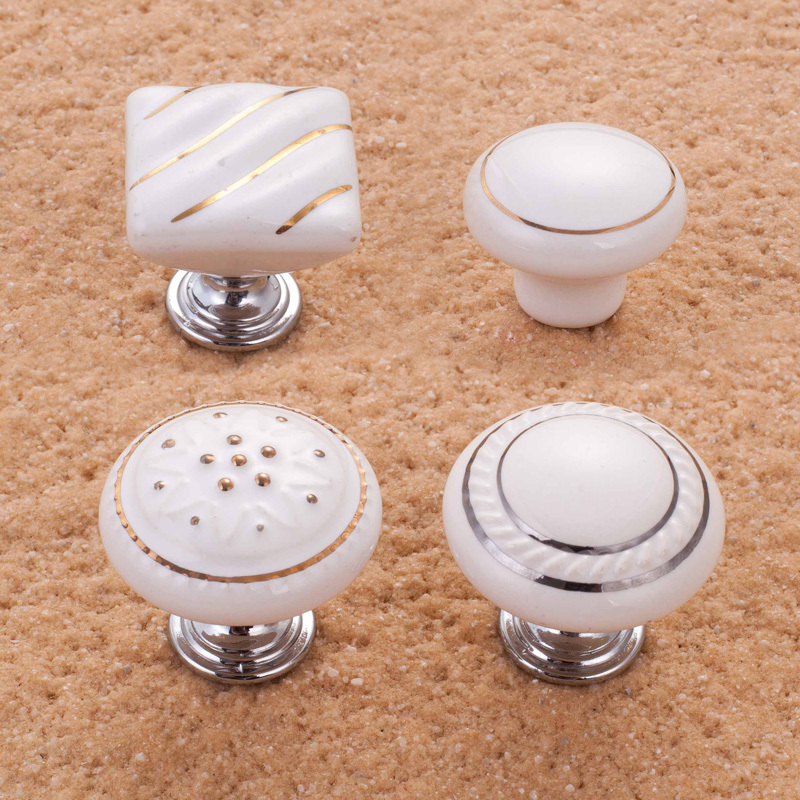 White ceramic kitchen cabinet knobs for Kitchen cabinets knobs