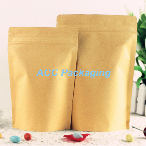 3.9''x5.9'' (10x15cm) Brown Kraft Paper Stand Up Aluminum Foil Packing Package Bag for Food Coffee Storage Zipper Zip Lock Bag(China (Mainland))