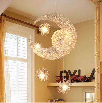 Modern Moon Star Lampshade LED Chandelier lustre Pendant Lamp Children Bedroom ceiling luminaire lighting hanging lamp for Decor(China (Mainland))