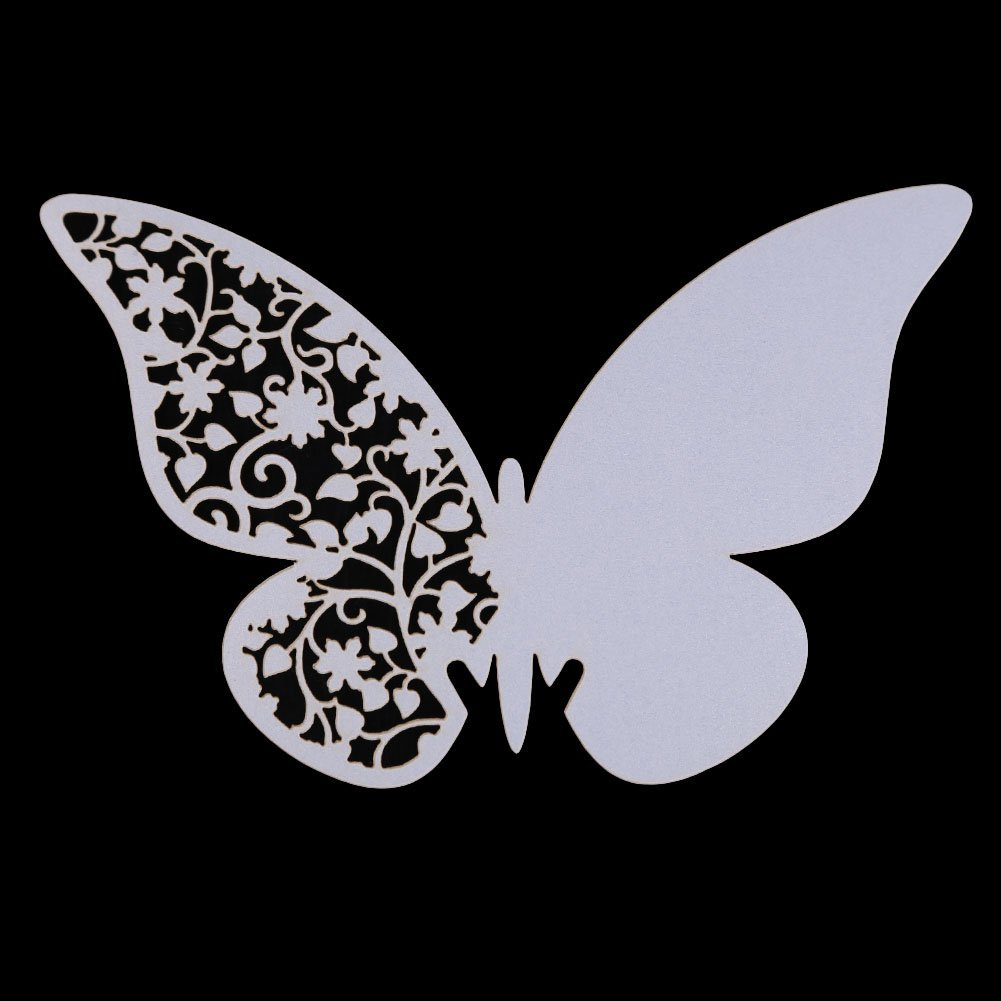 New DIY Mini 20Pcs Butterfly Escort Wine Glass Paper Card Wedding 3D Butterfly Place Cards Glass Laser Cut Wedding Party(China (Mainland))