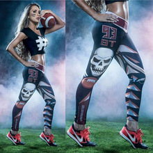 Harajuku Women Sport Leggings Running 3D Football 93 Number Fitness Gym Pants Patchwork High Waist Capris - fashion store 2014