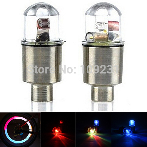 A17 2PCS Bike Bicycle Cycling Car Tyre Wheel Neon Valve Firefly Spoke LED Light Lamp not including battery Free Shipping L0786 P(China (Mainland))