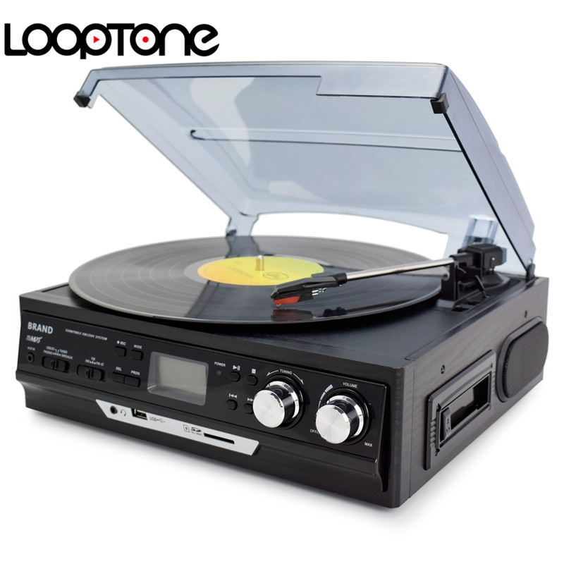 LoopTone 3-Speed Vinyl LP Record Players Turntable Player Built-in Speakers Gramophone AM/FM Radio USB/SD Cassette Recorder