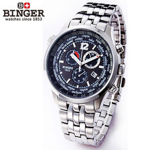 2016 Binger New Men's Military Sports Watches Multiple Time Zone Watch Auto Analog Digital Self Wind full steel Wristwatches
