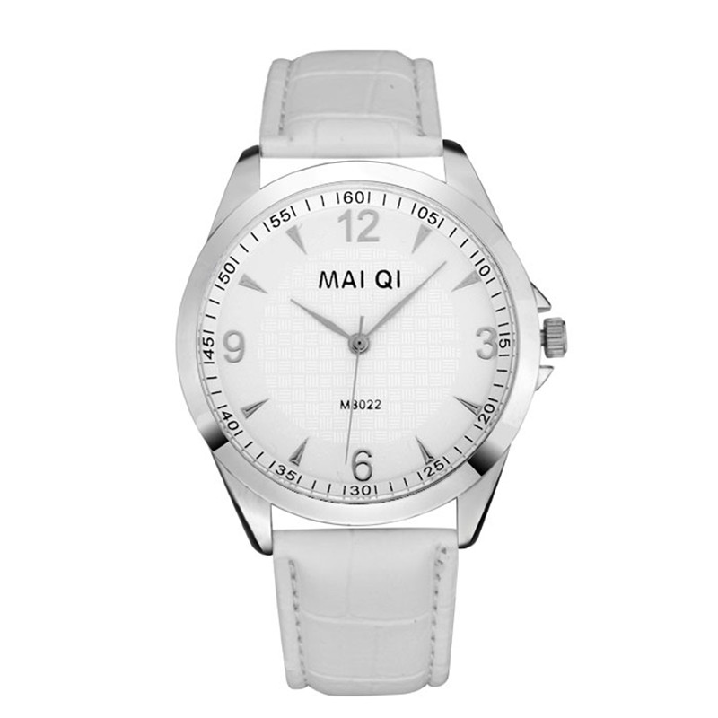 male table casual fashion brand watches quartz watches, digital three-pin silver dial leather strap 5 colors - HY GEM store