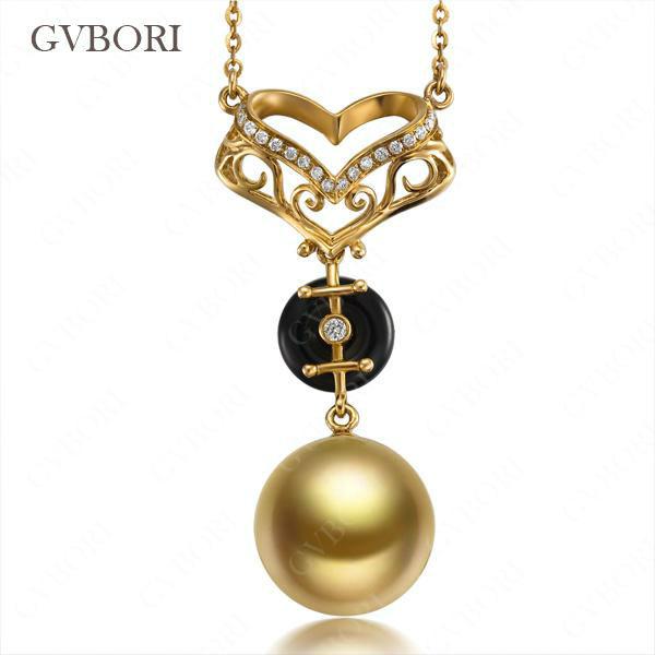 GVBORI Natural South Sea Gold Pearl Pendant For Wedding 18K Gold&amp;Natural Diamond Pendant For Women Fine Jewelry Womens Day Gift<br><br>Aliexpress