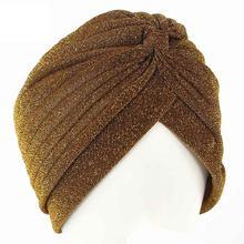 2019 Женская модная новинка Золотая блестящая тюрбан растягивающаяся мягкая яркая шляпа индийский стиль мусульманский тонкий хиджаб тюрбан(China)