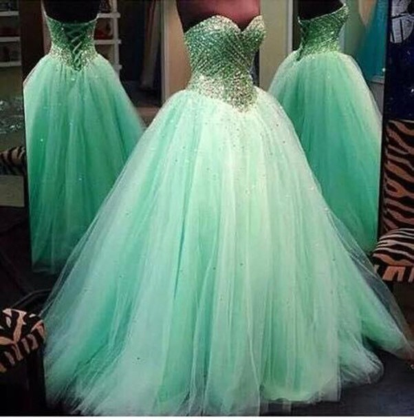 Vestido 15 Anos Festa 2015 Quinceanera Dresses Ball Gowns Mint Green Sweet 16 Diamonds Crystals - Dreamy Dress Online store