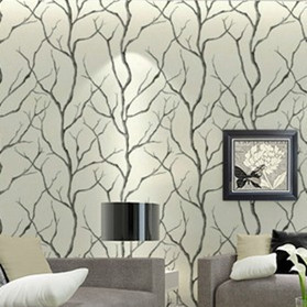Black and White Art Trees Walls Wallpaper Roll Mural Sofa Tv Unit Background DZK116 papel de parede Decor 10m(China (Mainland))