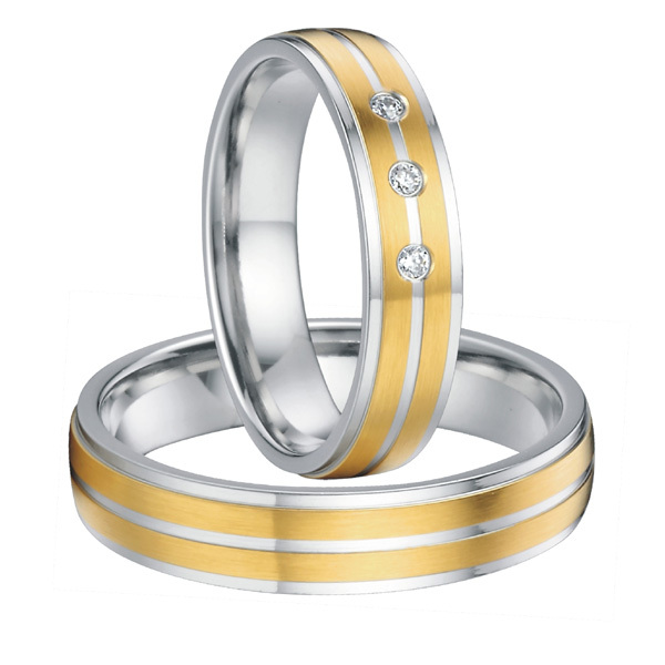 custom his and hers titanium steel wedding bands forever love promise rings sets for couples 18k gold plated alliances anel(China (Mainland))