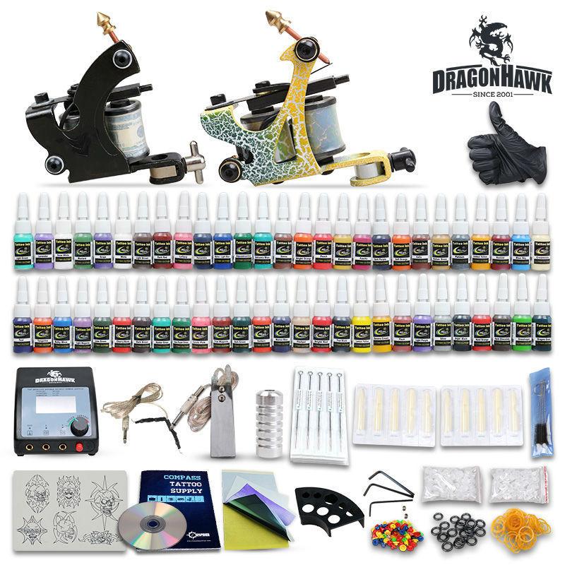 Beginner tattoo starter kits 2 guns machines 20 ink sets power supply needle pedal tips D175GD-6<br><br>Aliexpress