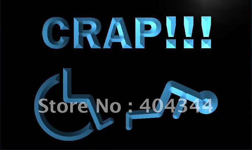 LM149- Handicapped Crap Beware New LED Neon Light Sign home decor crafts(China (Mainland))