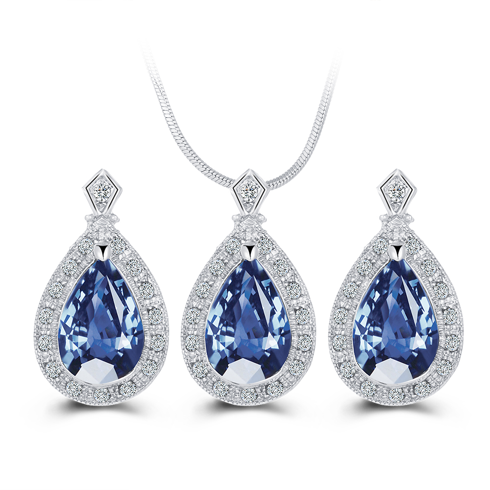 Hot Seling 2016 Fashion Necklace Earring Set Blue Crystal Drop Jewelry Sets Wedding Jewelry Sets Free Shipping Women(China (Mainland))