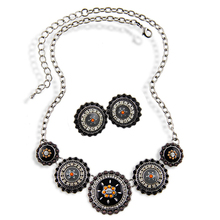 Free Shipping New Arrival Fashion Women Ethnic Enameling  Plated Round Flower Pendent Necklace&Earring Jewelry Sets