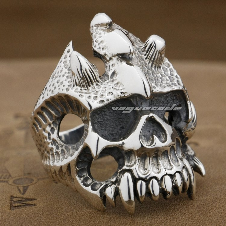 Huge Heavy 925 Sterling Silver Skull Mens Biker Ring 9D008 - LINSION Official Store store