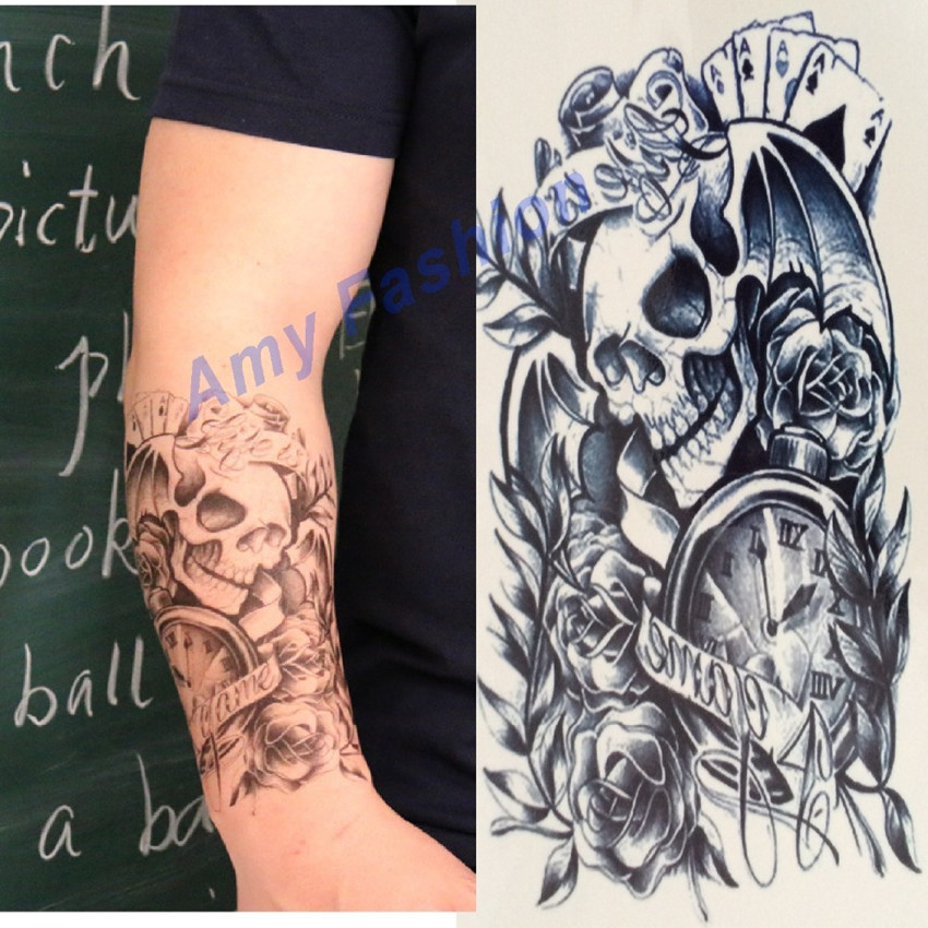 Skeleton tattoo designs promotion shop for promotional for Large letter temporary tattoos