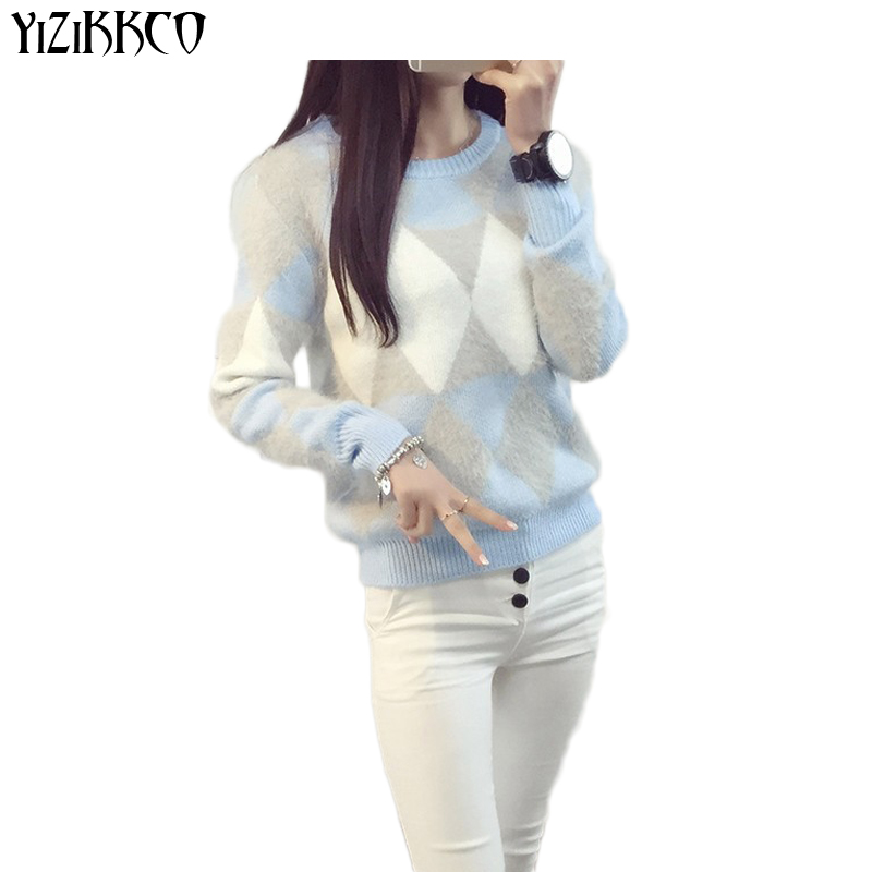 YiZiKKCO Brand Sweater Women Pullovers 2016 Autumn Winter Fashion O-Neck Candy Women Sweater Pull Femme Sweter Mujer WHD080