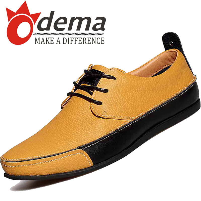 ODEMA Best Selling! Casual Men Shoes Fashion Lace Oxfords Genuine Leather Flats Outgoing Loafers 38-43 - UBELLA store