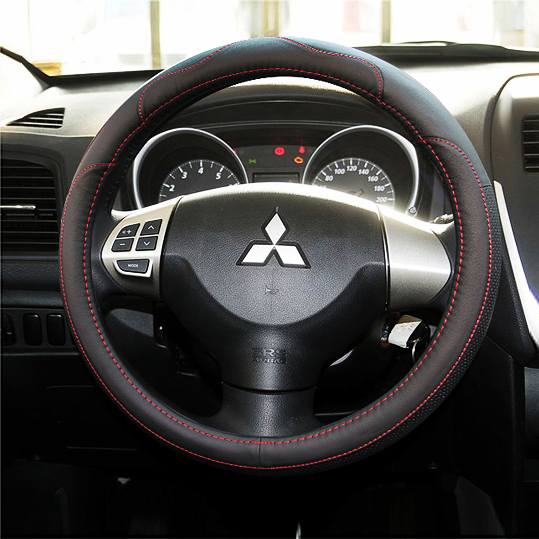 Leather Car Styling Steering Wheel Cover For Mitsubishi Outlander 2016 ASK Lancer EX 10 L200 Colt Pajero Sport Auto accessories(China (Mainland))