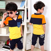 2016 Brand Summer Boy Print Striped Sport Clothing Set Short Sleeve T-Shirt + Short Pants Summer Baby School Clothes Set(China (Mainland))